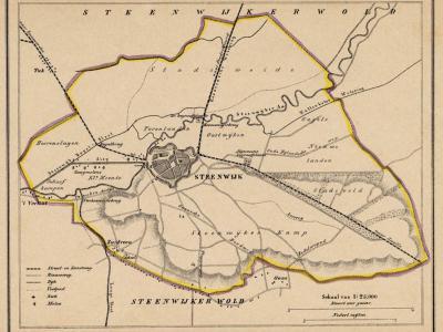 Gemeente Steenwijk anno ca. 1870, kaart J. Kuijper (collectie www.atlasenkaart.nl)