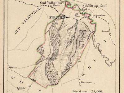 Gemeente Strucht anno ca. 1870, kaart J. Kuijper (collectie www.atlasenkaart.nl)