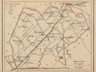 Gemeente Ten Boer anno ca. 1870, kaart J. Kuijper (collectie www.atlasenkaart.nl)