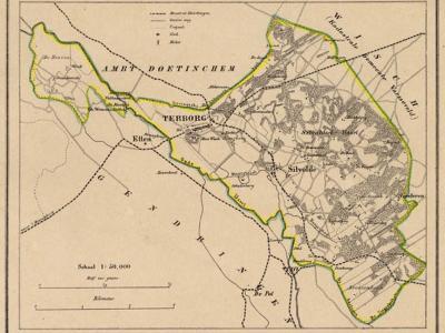Kaart van de in 1818 opgeheven gemeente Terborg (op de kaart staat gemeente Wisch, maar dat is een foutje van de kaartenmaker), situatie anno ca. 1870, kaart J. Kuijper
