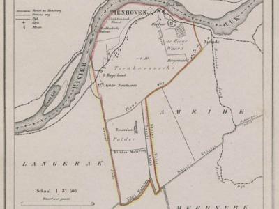 Gemeente Tienhoven (= het huidige dorp Tienhoven aan de Lek) anno ca. 1870, kaart J. Kuijper (collectie www.atlasenkaart.nl)