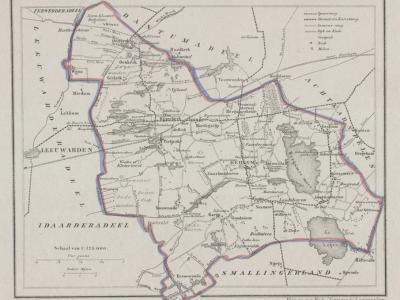 Gemeente Tietjerksteradeel anno ca. 1870, kaart J. Kuijper (collectie www.atlasenkaart.nl)