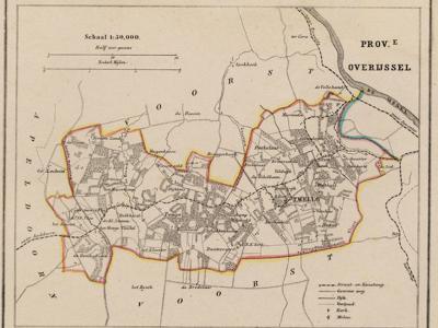 Kaart van de in 1818 opgeheven gemeente Twello, situatie anno ca. 1870, kaart J. Kuijper