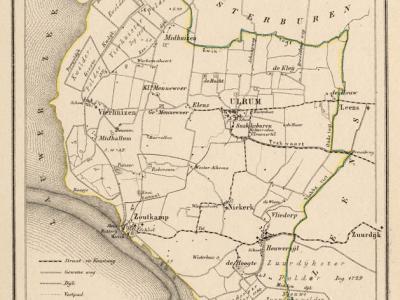 Gemeente Ulrum anno ca. 1870, kaart J. Kuijper (collectie www.atlasenkaart.nl)