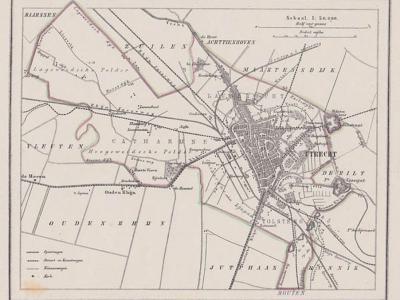 Gemeente Utrecht anno ca. 1870, kaart J. Kuijper (collectie www.atlasenkaart.nl)