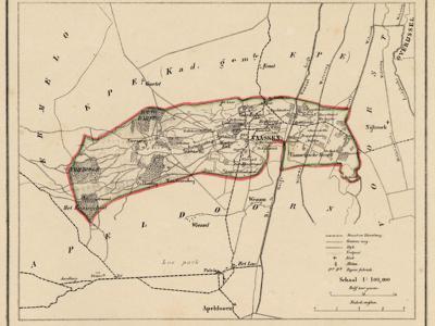 Kaart van de in 1818 opgeheven gemeente Vaassen, situatie anno ca. 1870, kaart J. Kuijper