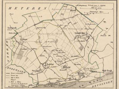 Gemeente Valburg anno ca. 1870, kaart J. Kuijper, exclusief de vermoedelijk in 1818 opgeheven gemeente Slijk-Ewijk