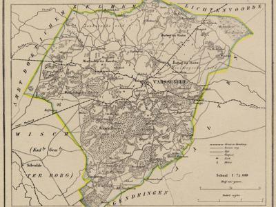 Kaart van de in 1818 opgeheven gemeente Varsseveld, situatie anno ca. 1870, kaart J. Kuijper