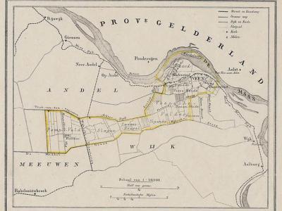 Gemeente Veen anno ca. 1870, kaart J. Kuijper (collectie www.atlasenkaart.nl)