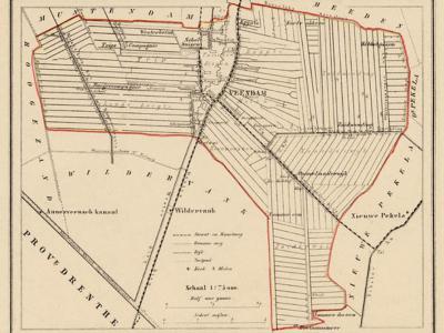 Gemeente Veendam anno ca. 1870, kaart J. Kuijper (collectie www.atlasenkaart.nl)