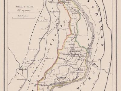 Kaart van de in 1818 opgeheven gemeente Veessen, situatie anno ca. 1870, kaart J. Kuijper