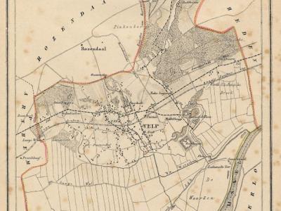 Kaart van de in 1818 opgeheven gemeente Velp, situatie anno ca. 1870, kaart J. Kuijper