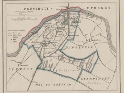 Gemeente Vianen anno ca. 1870, kaart J. Kuijper (collectie www.atlasenkaart.nl)