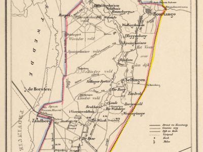 Gemeente Vlagtwedde anno ca. 1870, kaart J. Kuijper (collectie www.atlasenkaart.nl)
