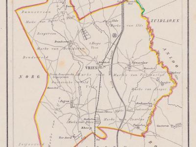 Gemeente Vries anno ca. 1870, kaart J. Kuijper (collectie www.atlasenkaart.nl)