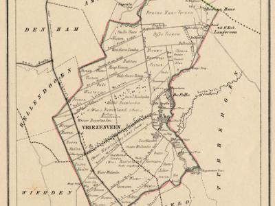 Gemeente Vriezenveen anno ca. 1870, kaart J. Kuijper (collectie www.atlasenkaart.nl)