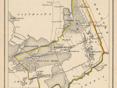 Gemeente Wanneperveen anno ca. 1870, kaart J. Kuijper (collectie www.atlasenkaart.nl)