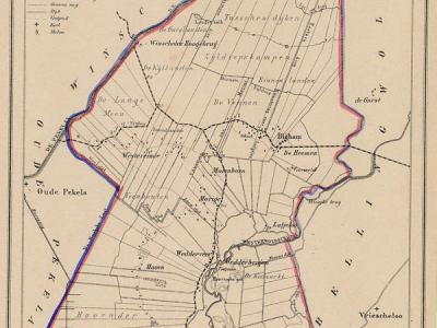 Gemeente Wedde anno ca. 1870, kaart J. Kuijper (collectie www.atlasenkaart.nl)