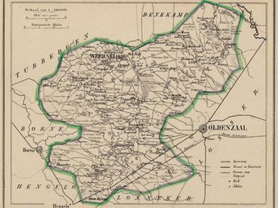 Gemeente Weerselo anno ca. 1870, kaart J. Kuijper (collectie www.atlasenkaart.nl)