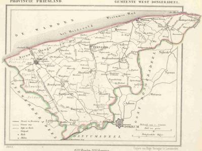 Gemeente Westdongeradeel anno ca. 1870, kaart J. Kuijper (collectie www.atlasenkaart.nl)