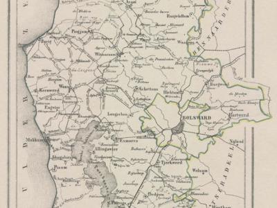 Gemeente Wonseradeel anno ca. 1870, kaart J. Kuijper (collectie www.atlasenkaart.nl)