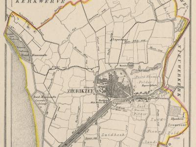 Gemeente Zierikzee anno ca. 1870, kaart J. Kuijper (collectie www.atlasenkaart.nl)