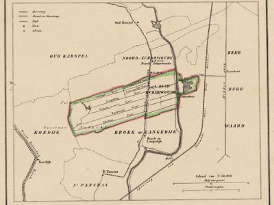 Gemeente Zuid-Scharwoude anno ca. 1870, kaart J. Kuijper