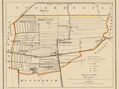Gemeente Zuidbroek anno ca. 1870, kaart J. Kuijper (collectie www.atlasenkaart.nl)