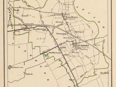Gemeente Zuidhorn anno ca. 1870, kaart J. Kuijper (collectie www.atlasenkaart.nl)