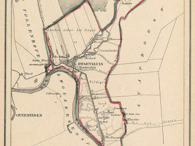Gemeente Zwartsluis anno ca. 1870, kaart J. Kuijper (collectie www.atlasenkaart.nl)