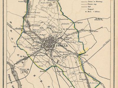 Gemeente Zwolle anno ca. 1870, kaart J. Kuijper (collectie www.atlasenkaart.nl)