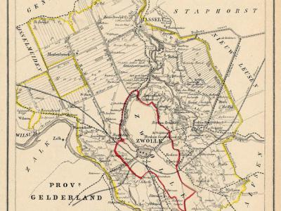 Gemeente Zwollerkerspel anno ca. 1870, kaart J. Kuijper (collectie www.atlasenkaart.nl)