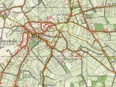 Op deze kaart kun je aan de gele lijnen en de afgekorte gemeentenamen onder de plaatsnaam goed zien dat Gemonde t/m 1995 onder vier gemeenten viel. NW was gem. Sint-Michielsgestel, ZW gem. Boxtel, NO gem. Schijndel, en ZO gem. Sint-Oedenrode. (© Kadaster)
