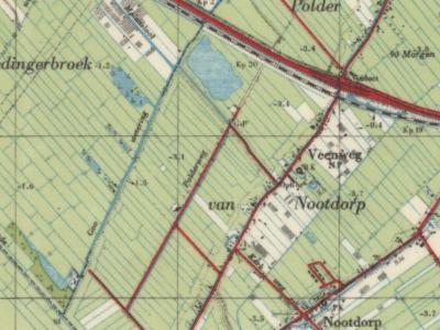 Op deze kaart uit ca. 1950 is de Goo Wetering, waar de buurtschap Gooland naar is genoemd, nog goed te zien. In slechts enkele decennia tijd is dit gebied drastisch veranderd. Zie verder de toelichting onder het kopje Beeld.