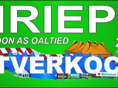 Muziekfestival Hrieps (de naam van het dorp in het Zeeuws) in Grijpskerke was er in 2017 voor de 23e keer en voor het eerst in de geschiedenis was het helemaal uitverkocht. Terecht was men daar trots op. Vandaar dat we deze banner op hun site aantroffen.