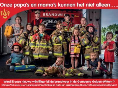 """Wervingscampagne 2017 voor vrijwilligers voor de Brandweer Gulpen-Wittem. Zo te zien gaan de gezegden """"Jong geleerd is oud gedaan"""" en """"Je kunt er niet vroeg genoeg mee beginnen"""" hier wel op..."""