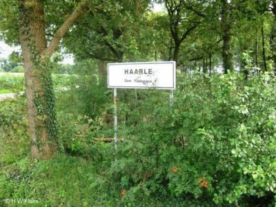 De gemeente Tubbergen is niet scheutig met plaatsnaamborden. Bij de nota bene officiële woonplaats Haarle heeft de buurtschap zo te zien zelf maar plaatsnaamborden vervaardigd (net als men dat in Mander en Hezingen heeft gedaan...).