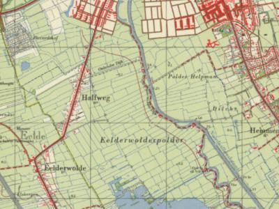 Op deze kaart uit de jaren zestig is goed te zien dat buurtschap Halfweg in het uiterste NW van de gem. Haren lag (zie de streepjeslijn = gemeentegrens). I.v.m. de uitbreidingsbehoefte van Groningen is het gebied in 1969 naar de gem. Groningen overgegaan.
