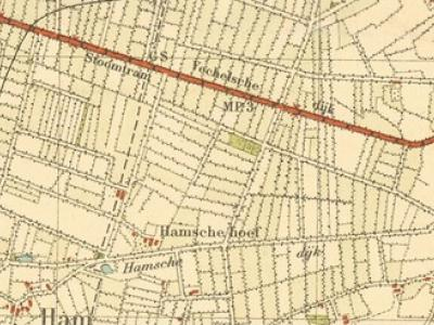 De Hamse Dijk was de oude verbindingsweg tussen de buurtschap Ham en het dorp Erp. Hier afgebeeld op de topografische kaart van 1920-1924.