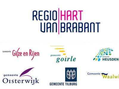 Hier zie je de negen samenwerkende gemeenten in de Regio Hart van Brabant mooi bij elkaar, met hun logo's (© www.wijgoirlenaren.nl)