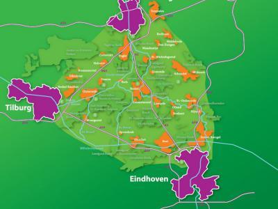 Nationaal Landschap Het Groene Woud is een groot aaneengesloten natuur- en recreatiegebied in Brabant. Zoals je ziet, is het precies een mooie, groene 'driehoek' tussen 's-Hertogenbosch, Tilburg en Eindhoven. (©www.landschapscanonhetgroenewoud.com)