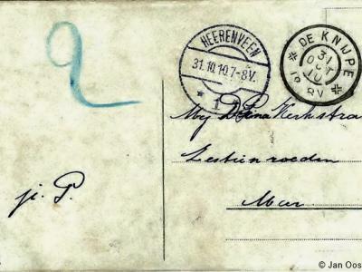 Ansichtkaart in 1910 verstuurd van De Knijpe (het huidige De Knipe) naar Zestienroeden, vallend onder de W van De Knipe gelegen buurtschap Het of 't Meer, die in die tijd ook Meer werd genoemd zonder voorvoegsel, getuige ook de adressering van de kaart.