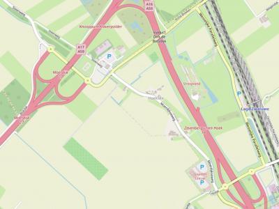 Buurtschap Hoekske ZO van Moerdijk ligt anno 2021 nog in de weidsheid van de oksel tussen de A16 en de A17. Maar niet lang meer; vanaf dat jaar wordt Logistiek Park Moerdijk (LPM) gerealiseerd, waar de buurtschap voor moet wijken. (©www.openstreetmap.org)