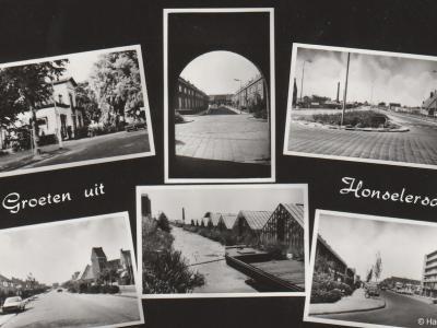 Honselersdijk, ansichtkaart met 6 dorpsgezichten