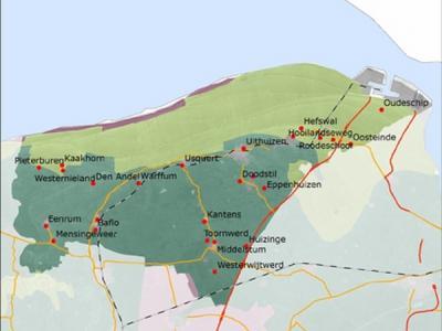 Kaart van de vroegere geografische en bestuurlijke afbakening van de Groningse streek Hoogeland. Tegenwoordig zijn er diverse andere definities van dit gebied. Zie daarvoor het hoofdstuk Ligging. (© www.landschapsgeschiedenis.nl)