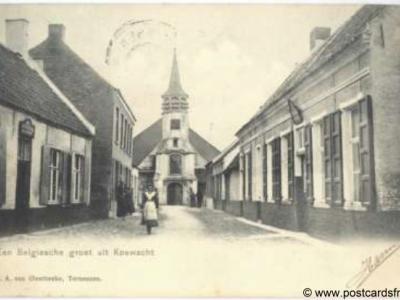 Koewacht, dorpsgezicht, Belgische groet, 1904