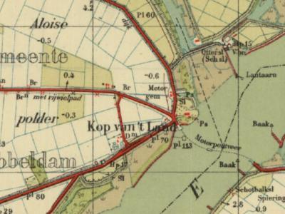 Kop van 't Land is een buurtschap in de provincie Zuid-Holland, in de streek Drechtsteden, gemeente Dordrecht. T/m 30-6-1970 gemeente Dubbeldam. De buurtschap staat hier afgebeeld op een kaart uit ca. 1940. (© www.kadaster.nl)