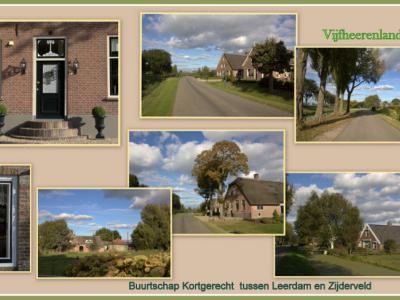 Direct N van de dorpskern van Schoonrewoerd ligt de lintbebouwing van buurtschap Kortgerecht, waaraan diverse monumentale oude boerderijen liggen. Er is ook een 'groenteboer aan huis', waar je groenten en fruit kunt kopen. (© Jan Dijkstra, Houten)