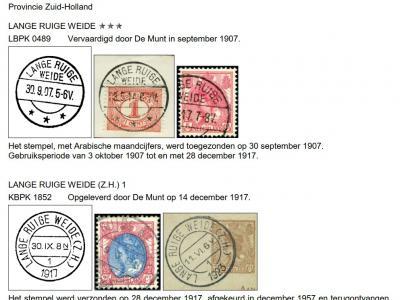 In 1872 krijgt de gemeente Lange Ruige Weide een hulppostkantoor, met in de poststempels de gemeentenaam in plaats van de vestigingsplaats. Pas in 1967 wordt de kantoornaam gewijzigd in Driebruggen. (© http://poststempels.nedacademievoorfilatelie.nl)