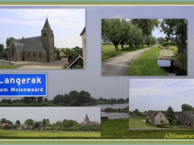 Langerak is een dorp in de provincie Zuid-Holland, in de streek Alblasserwaard, gem. Molenlanden. Het was een zelfstandige gem. t/m 1985. In 1986 over naar gem. Liesveld, in 2013 over naar gem. Molenwaard, in 2019 over naar gem. Molenlanden. ©Jan Dijkstra
